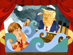 Donald Trump and Angela Merkel all at sea